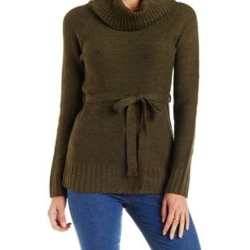 Olive Combo Belted Turtleneck Tunic Sweater by Charlotte Russe