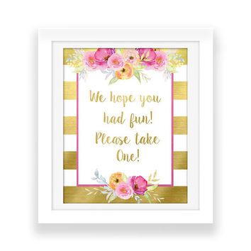 Pink and Gold Floral Party Decorations - We hope you had fun Party Printable - Bridal Party - Watercolor Flowers - Baby Shower Printable Art