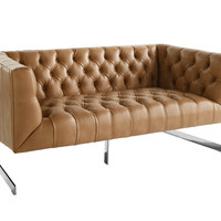Viner Nobility Peanut Brown Leather Loveseat - Transitional - Loveseats - by Bright Modern