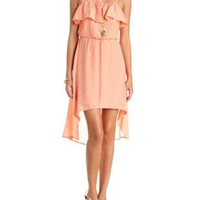 Embroidered Flounce High-Low Dress by Charlotte Russe