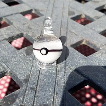 Uv Reactive Glass Pokeball Pendant (Pink)