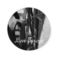 Sticker: European Bridge and Love Lock Classic Round Sticker