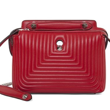 Fendi Dotcom Click Red Small Quilted Lambskin Leather Chain Satchel Handbag Bag Silver Hardware 8BN299