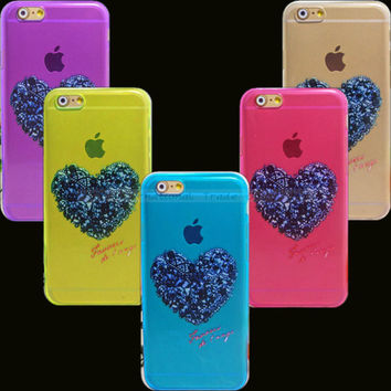 Love shape Design Silicone Cover For Apple iPhone6 5.5'' Case iPhone 6 Plus 6+ Shell Cell Phone Cases 1PC Drop Shipping