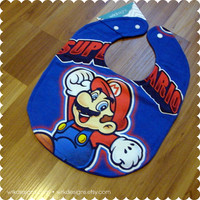 Super Mario Baby Bib - Recycled T-Shirt Bib - Reversible - OOAK - Video Games - Baby Boy