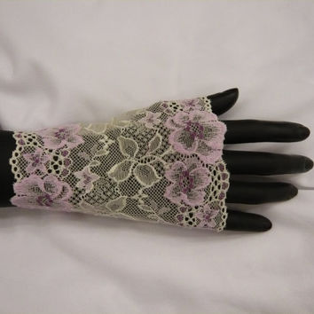 A pair ( 2 pcs) Lace Wrap Bracelet,Stretch Wrist Bracelet,Fashion accessory,Tattoo Cover,Cuff Bracelet,wide lace cuff,lace cuff,gift to her
