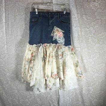 Sz 7 Lace Floral Grunge Denim Skirt Jean Festival Rustic  / Upcycled Shabby Chic Romantic Punk Prairie Skirt / Gypsy Skirt /  By Tattered Fx