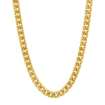"""Italian 7.5mm Solid 925 Gold Plated Sterling Silver Beveled Cuban Curb Link Chain 26"""" Long, Fronay Collection"""