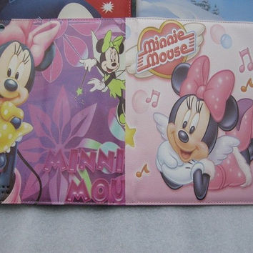 Cute Disney Mickey Minnie Mouse Stand Smart leather case pink for iPad 2 3 4