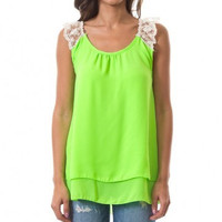 Neon Green Floral Tank