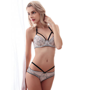 OUDOMILAI Women Bra Set Push Up Unlined Sexy Transparent 3/4 Floral Embroidery B C D Female Underwear Sets Free Shipping OU5021