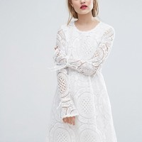 Vila Premium Cutwork Lace Fluted Sleeve Smock Dress at asos.com