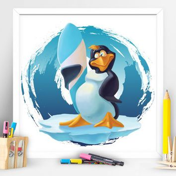 Cache the wave cool penguin. Kids Wall Art. Children Playroom Decor