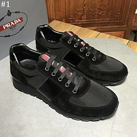 PRADA 2018 new canvas sports and leisure trend men's breathable comfortable sports shoes #1