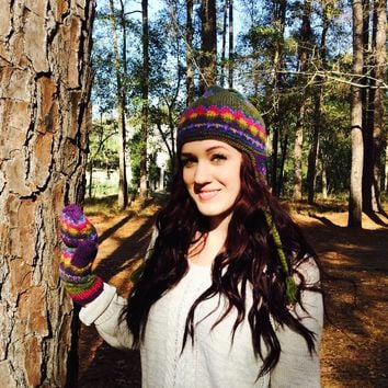 Alpaca Wool Fleece Lined Gloves and Earflap Hat