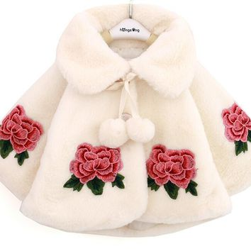 Winter Baby Jacket Kids Plush Cloak Embroidery Hoodies Outerwear Girl Poncho for 0~3 Years Baby 4 P