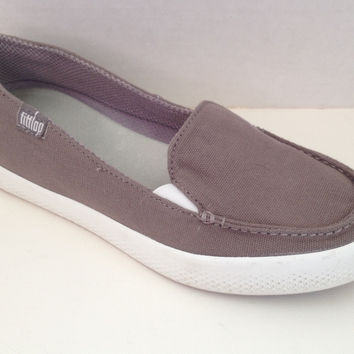 Fit Flop Canvas Flats Womens Size 6 M Boat Shoes Gray