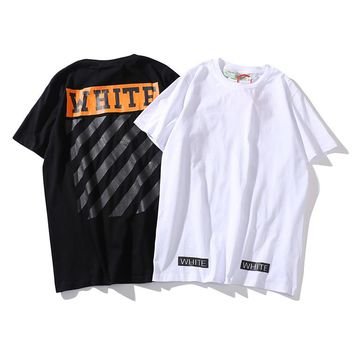 Stripe slash OFF WHITE short sleeve street youth casual cotton T-shirt