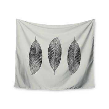 """Julia Grifol """"Three Leaves"""" Black Grey Nature Wall Tapestry"""