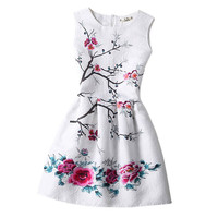 Hot!!! Women Spring casual wear printed  butterfly dress Women party high-grade dress Teen clothes