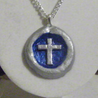 Silver and Blue Cross Necklace, clay, round, circular, gray, grey, glossy, shiny, ooak holy catholic christian crucifix unique original
