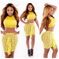 Yellow Cropped Top and Floral Lace Ruffled Mini Skirt