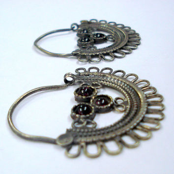 vintage antique tribal old silver hoop earrings belly dance jewelry indian