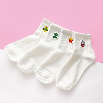 Embroidered Crew Socks Set