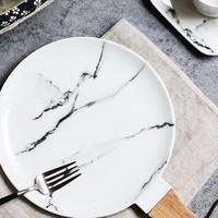 3 Piece Marble Dinner Plate Set