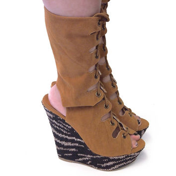 King Mocha By Shoe Republic, Gladiator Lace Up Ankle Bootie Peep Toe High Platform Wedge Sandal