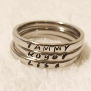 Custom Name Ring, Stacking Name Ring, Personalized Stackable Ring, Hand Stamped Ring, Initial Ring, Mother Ring, 3mm Ring (HSSR0001)