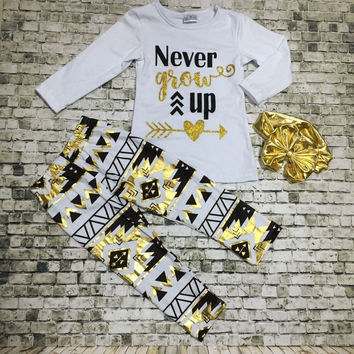 In Stock-Never Grow up gold Aztec Pant Set