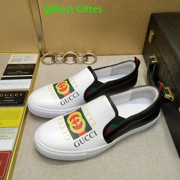 GUCCI Men Flats Leather Sneakers Sport Shoes Casual sandals Best Quality white