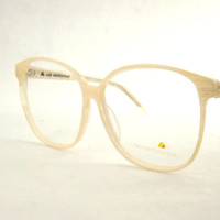 Huge Womens Eyeglasses, Vintage Liz Claiborne Designer Frames, Marbled Wood Grain Tan White