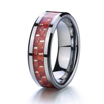 Sista - 8MM Red Wood Inlay Tungsten Carbide Comfort Fit Ring