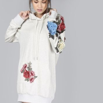 White Rose Embroidered Hoodie Dress