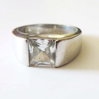 Vintage Clear Topaz Ring - Sterling Silver - Art Deco - Size 7