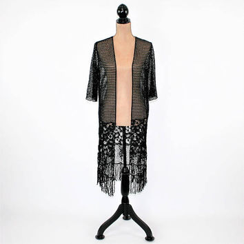 Long Crochet Cardigan Black Lace Duster Jacket Bohemian Edwardian Cotton Romantic Boho Clothing Small Womens Clothing Vintage Style