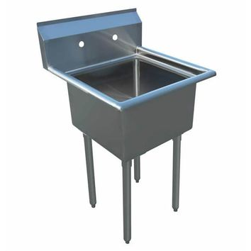 "Stainless Steel 1 Compartment Sink 29"" x 30"" No Drainboard"