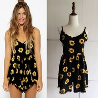 Women Vintage V Neck Straps Sunflower Print Jumpsuit Romper