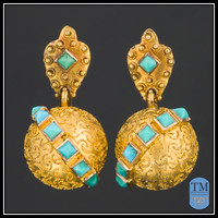 Antique Victorian Turquoise & 14k Gold Earrings, Etruscan Revival
