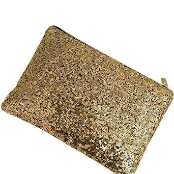 Lady Sparkling Sequins Handbag, Fashion Dazzling Prime Clutch Purse Gold Wallet, Retro Luxurious Evening Clutch...