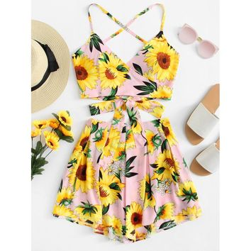 Floral Print Knot Cami Top And Short Co-Ord