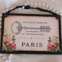 Paris Decor Skeleton Key Plaque French Decor Shabby Cottage Chic Pink Roses