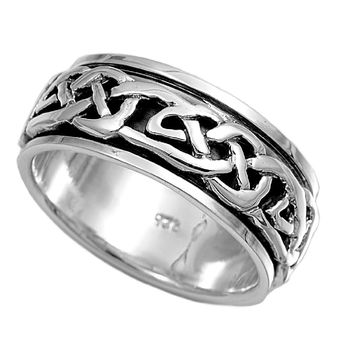 925 Sterling Silver Wicca Witchraft Symbol 8MM Spinner Ring