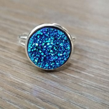 Druzy Ring- Blue green drusy silver tone druzy ring