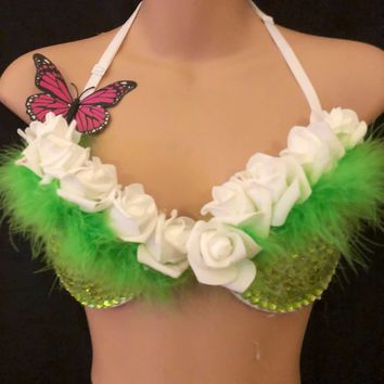 Designer LED light up flashing flower Nymph Rave cage Bra 34b Clubwear EDC Party