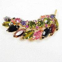 Rhinestone Domed Leaf Brooch / Multi Colored / Dimensional