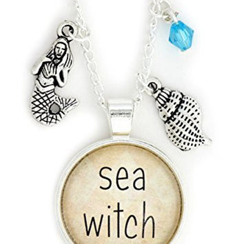 Sea Witch Necklace Silver Tone NX16 Ocean Mermaid Shell Charms Pendant Fashion Jewelry