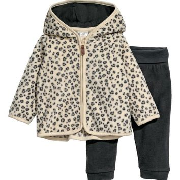 Hooded jacket and trousers - Beige/Leopard print - Kids | H&M GB